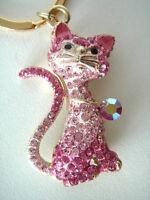 Gold Metal Kitty Cat Crystal Rinestone Charm Keychain Keyring