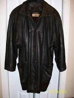 ladies thigh-length leather coat