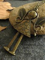 Retro Style Bronze Happy Girl Necklace Pendant--NEW!