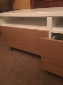 Ikea glass topped white and oak 2 drawer tv media stand unit rrp £249