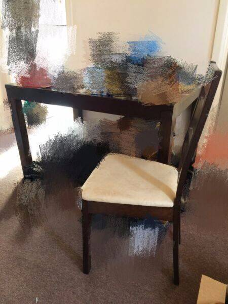5 piece dinning table and chairs set dark brown solid timber wood
