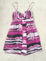 Pink Black White FORMAL PROM DRESS - SMALL