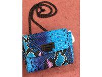 Topshop snake effect blue bag