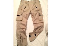 LEVI'S tan waterproof high viz workwear trousers. Size L