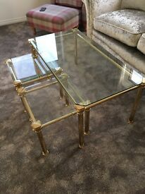 Toughened glass & solid brass coffee table & side tables