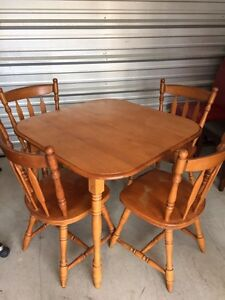 Solid wood table 4 chairs  London Ontario image 2