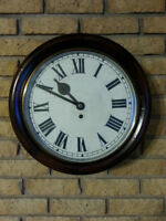 ANTIQUE FUSEE DIAL 12 INCH CLOCK - MAHOGONY FINISH