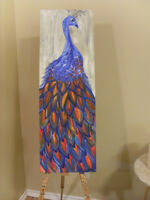 12 x 36 Acrylic wall art painting on canvas: Peacock