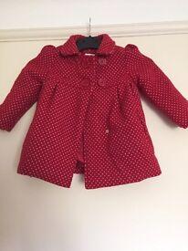 Girls red John Lewis 12-18 months coat