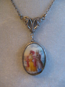 """VERY OLD STERLING SILVER [stamped] 19"""" PENDANT NECKLACE"""