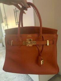 68ed9f549fa1 Hermes birkin bag orange tan - designer bag handbag