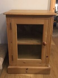 Solid wood media unit with glass door