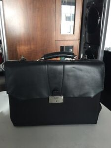 Bosca black leather and canvas briefcase laptop bag