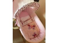 Baby girls pink butterfly Moses basket with rocking stand & 2 sheets