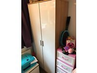 Bedroom furniture white gloss wardrobe chest of drawers and bedside unit
