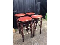 4 solid wooden large bar stools