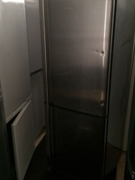 Stainless steel daewoo frost free H 170cm W 60cm fridge freezer good condition with guarantee