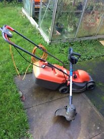 Flymo lawnmower and edge trimmer