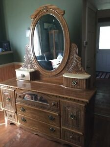 Dresser, mirror and headboard