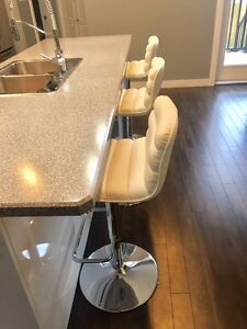 3 x White bar stools