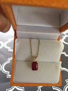 Genuine Ruby and Diamond pendant necklace Kitchener / Waterloo Kitchener Area image 3