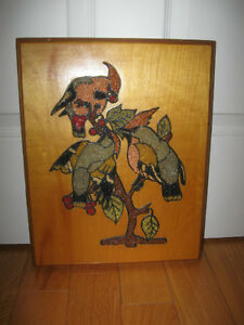 BEAUTIFUL OLD VINTAGE HAND-CRAFTED MOSAIC on WOOD WALL HANGING