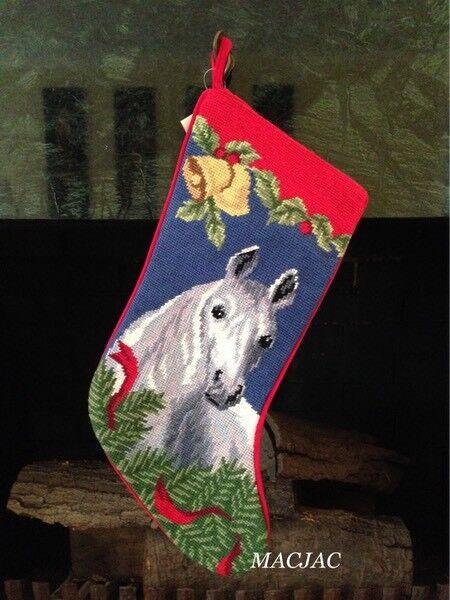 Grey Horse Needlepoint Christmas Stocking NWT