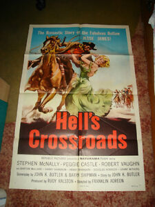 RARE VINTAGE 1957 JESSE JAMES WESTERN OUTLAW COWBOY MOVIE POSTER