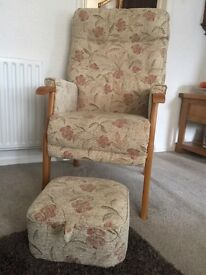 HSL living room furniture. High back chair and stool, recliner and 2 seater settee.