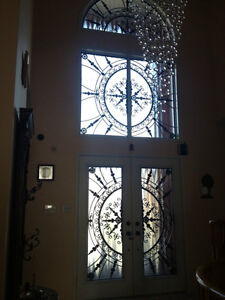 WROUGHT IRON & STAIN GLASS DOOR INSERTS