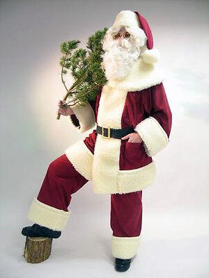 Weihnachtsmann-Kostüm | Waschsamt Schäfchenplüsch Jacke | Hose | Mütze | - Männlich Weihnachten Kostüm