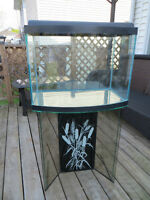 Bow Front Aquarium with Glass Stand 26 Gal