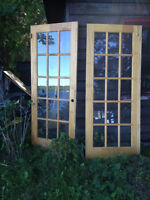 Two Solid pine French doors