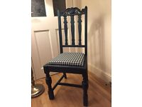Antique oak dining or bedroom chair Annie Sloan shabby chic Aubusson blue