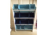 Blue canvas storage rack