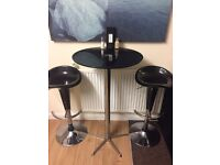 Tall table and height adjustable stools - black glass