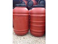 Orange 220 / 200 Litre Plastic HDPE Barrels, excellent Water Butt Waterbutt Brewing Home Brew