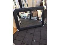 "large black swept framed mirror 42""x30"""