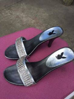 Size 9 Playboy icon fashion strapy heals with crystal front.