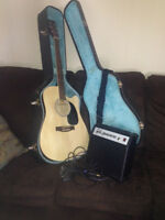 acoustic/electric guitar with case and amplifier