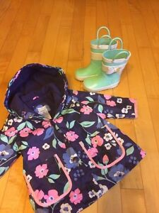 12 month rain coat and sz 4 boots - jump baby