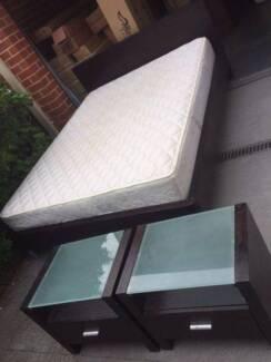NICe chocolate color woodne queen size bed frame + 2 bedside tabl