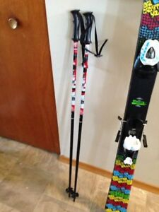 TWIN TIP SKIS, BOOTS AND POLES