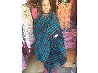 Tartan shawl. Wool, Tibetan Yak style. Super warm