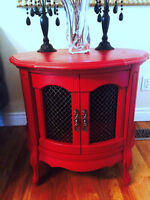 Red Cabinet, Side Table, Storage Unit