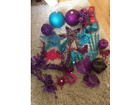 Christmas decorations pink blue