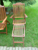 Wooden Recliner Deck Chairs with Foot Rests