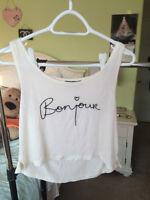 Brandy Melville - Bonjour, off white cropped tank top
