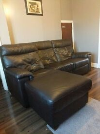 Lshaped brown leather recliner