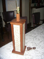 TABLE LAMP TEAK & CERAMIC  1970'S